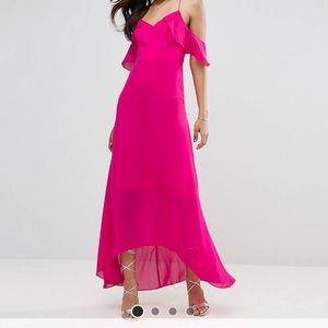 NWT ASOS TD Pink off-shoulder maxi dress!